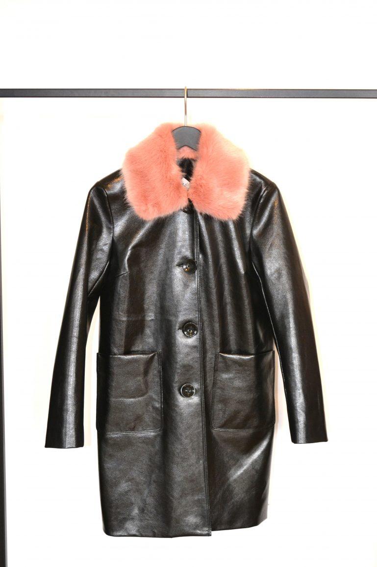manteau cuir col fourrure rose