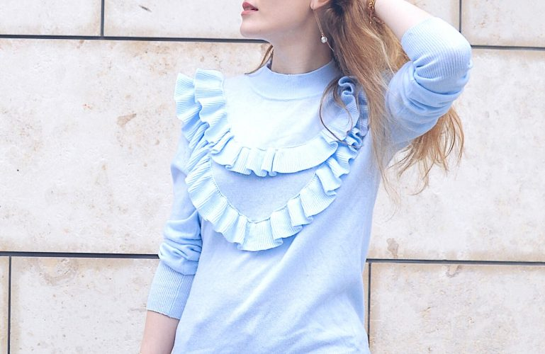 zoom ruffle top blue