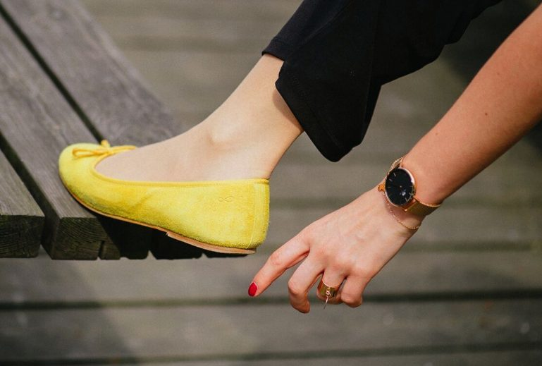 ballerines jaune moutarde