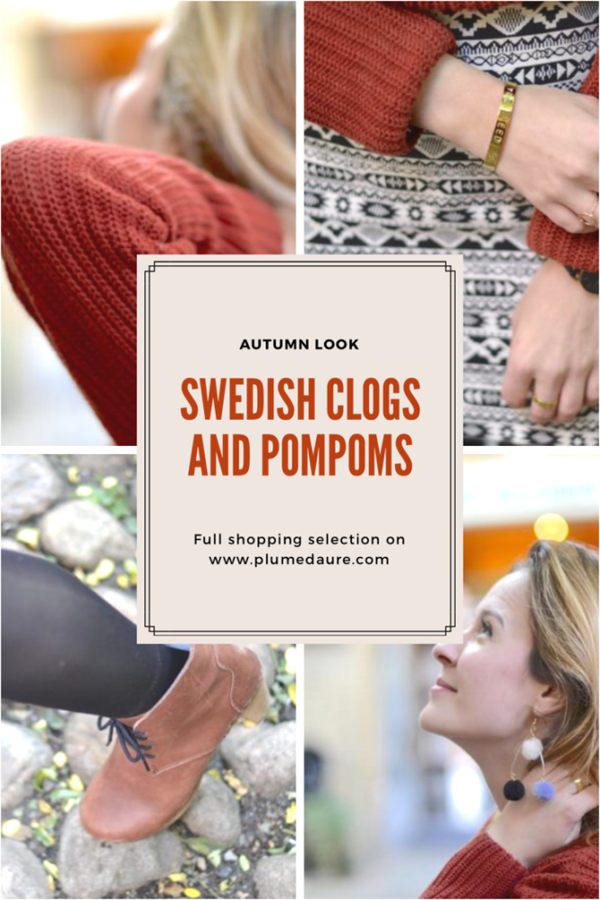 Ideas for a nice autumn outfit : Swedish clogs and pompons! Shopping selection inside!